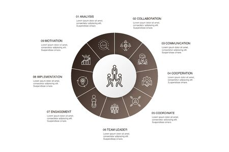 team building Infographic 10 steps circle design.collaboration, communication, cooperation, team leader simple icons