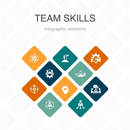 team skills Infographic 10 option color design. Collaboration, cooperation, teamwork, communication simple icons