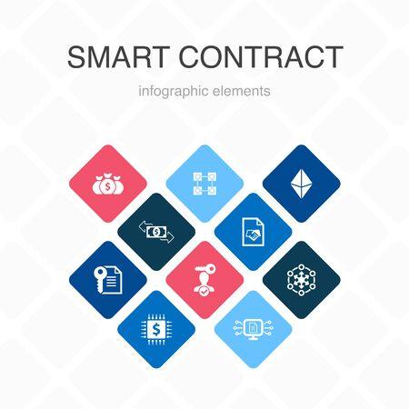 Smart Contract Infographic 10 option color design. blockchain, transaction, decentralization, fintech simple icons 스톡 콘텐츠 - 133445564
