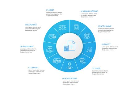 Accounting Infographic 10 steps circle design.Asset, Annual report, Net Income, Accountant simple icons