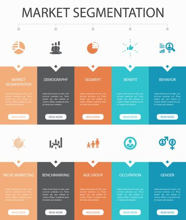 market segmentation Infographic 10 steps UI design.demography, segment, Benchmarking, Age group simple icons 向量圖像