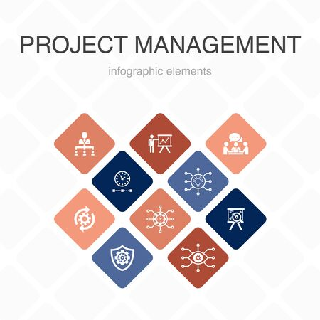 Project management Infographic 10 option color design. Project presentation, Meeting, workflow, Risk management simple icons