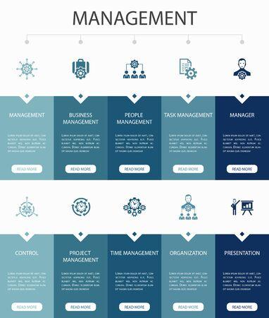 Management Infographic 10 steps UI design.manager, control, organization, presentation simple icons
