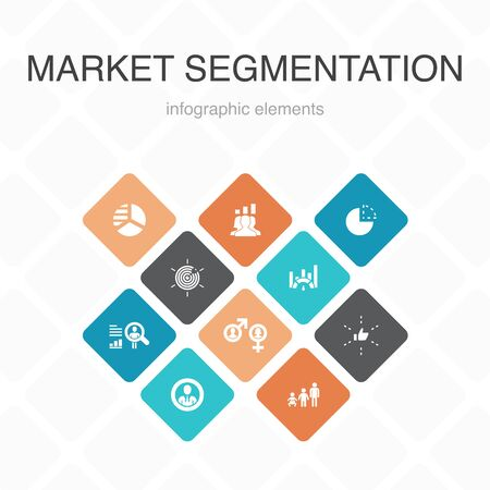 market segmentation Infographic 10 option color design.demography, segment, Benchmarking, Age group simple icons 向量圖像