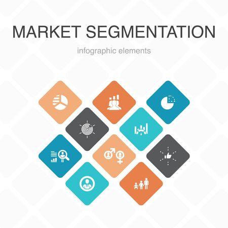 market segmentation Infographic 10 option color design.demography, segment, Benchmarking, Age group simple icons Illustration