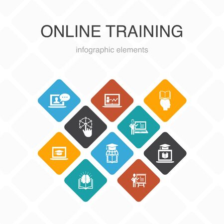 Online Training Infographic 10 option color design.Distance Learning, learning process, elearning, seminar simple icons 向量圖像