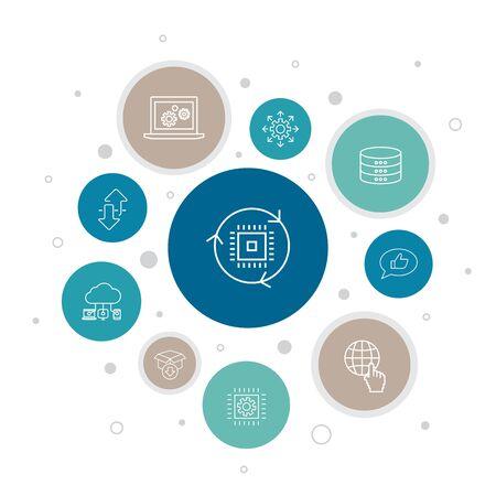 digital transformation Infographic 10 steps bubble design.digital services, internet, cloud computing, technology simple icons