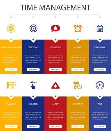 Time Management Infographic 10 steps UI design.efficiency, reminder, calendar, planning simple icons