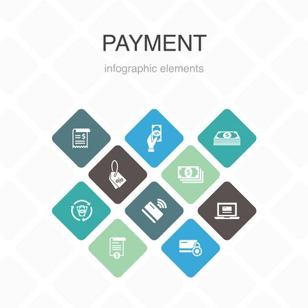 payment Infographic 10 option color design. Invoice, money, bill, discount simple icons