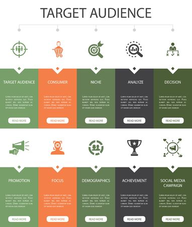 target audience Infographic 10 steps UI design.consumer, demographics, niche, promotion simple icons Illustration