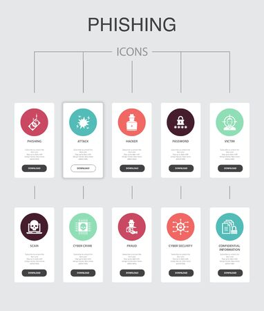 phishing Infographic 10 steps UI design.attack, hacker, cyber crime, fraud simple icons Ilustração