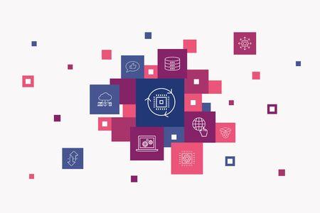 digital transformation Infographic 10 steps pixel design. digital services, internet, cloud computing, technology simple icons