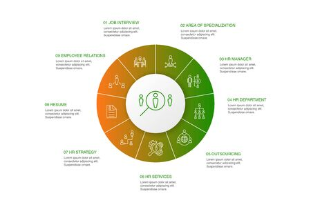 Human Resources Infographic 10 steps circle design.job interview, hr manager, outsourcing, resume simple icons Illustration