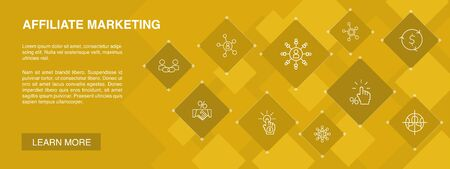 affiliate marketing banner 10 icons concept.Affiliate Link, Commission, Conversion, Cost per Click simple icons
