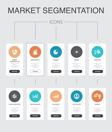 market segmentation Infographic 10 steps UI design.demography, segment, Benchmarking, Age group simple icons Illustration