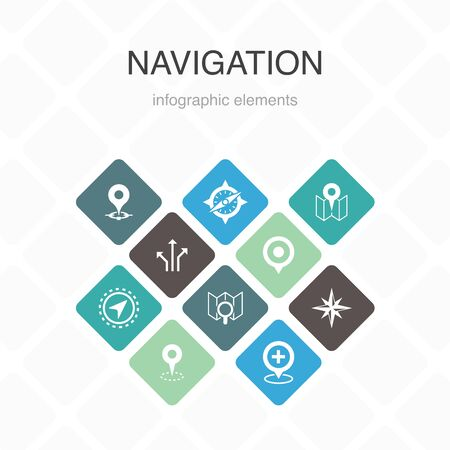 Navigation Infographic 10 option color design.location, map, gps, direction simple icons Illusztráció