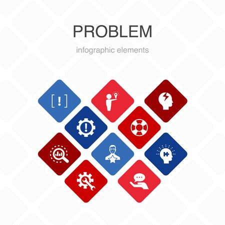 problem Infographic 10 option color design. solution, depression, analyze, resolve simple icons