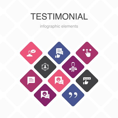 testimonial Infographic 10 option color design. feedback, recommendation, review, comment simple icons