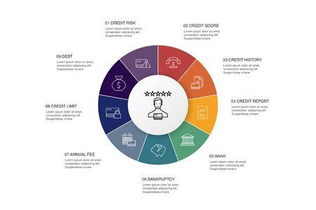Bonitäts-Infografik 10-Schritte-Kreis-Design.Kreditrisiko, Kreditwürdigkeit, Insolvenz, einfache Symbole der Jahresgebühr
