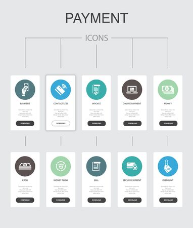 payment Infographic 10 steps UI design.Invoice, money, bill, discount simple icons