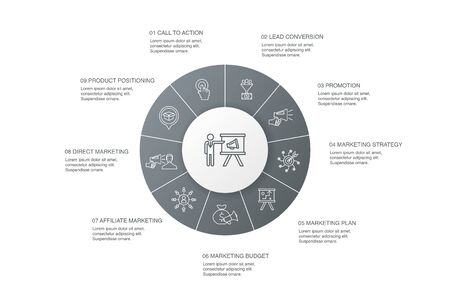 marketing Infographic 10 steps circle design.call to action, promotion, marketing plan, marketing strategy simple icons