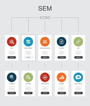 SEM Infographic 10 steps UI design.Search engine, Digital marketing, Content, Internet simple icons 向量圖像