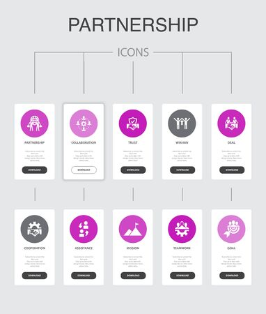 Partnership Infographic 10 steps UI design.collaboration, trust, deal, cooperation simple icons Ilustrace