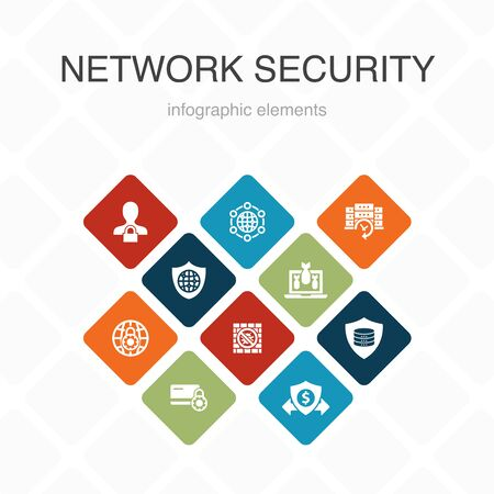 network security Infographic 10 option color design.private network, online privacy, backup system, data protection simple icons