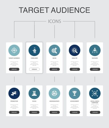 target audience Infographic 10 steps UI design.consumer, demographics, niche, promotion simple icons 向量圖像