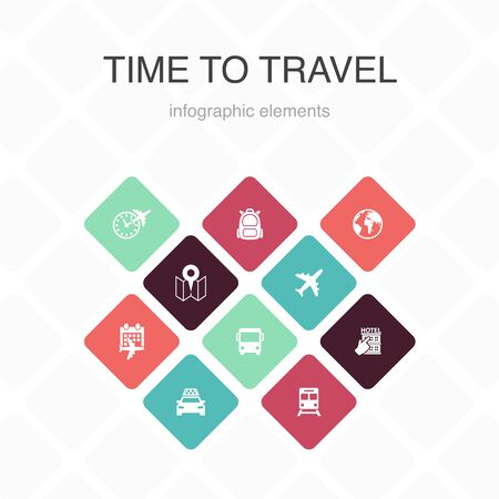 time to travel Infographic 10 option color design. hotel booking, map, airplane, train simple icons