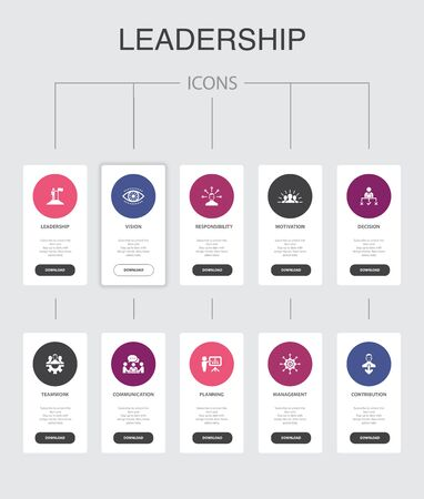 Leadership Infographic 10 steps UI design.responsibility, motivation, communication, teamwork simple icons 向量圖像