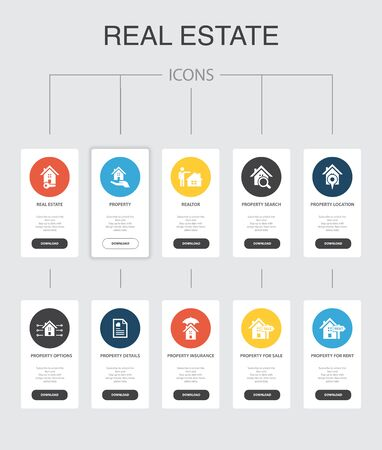 Real Estate Infographic 10 steps UI design.Property, Realtor, location, Property for sale simple icons