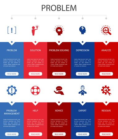 problem Infographic 10 steps UI design.solution, depression, analyze, resolve simple icons