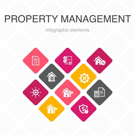 property management Infographic 10 option color design. leasing, mortgage, security deposit, accounting simple icons Standard-Bild - 133445844