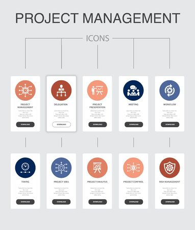 Project management Infographic 10 steps UI design.Project presentation, Meeting, workflow, Risk management simple icons