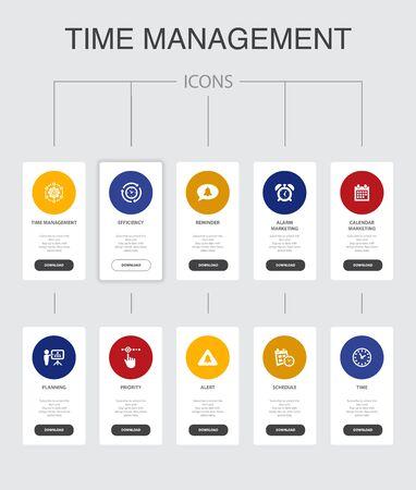 Gestion du temps Infographie 10 étapes UI design.efficiency, rappel, calendrier, planification d'icônes simples