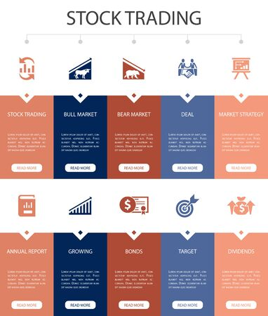 stock trading Infographic 10 steps UI design.bull market, bear market, annual report, target simple icons