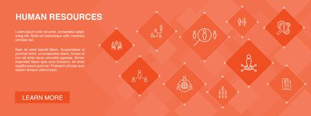 Human Resources banner 10 icons concept.job interview, hr manager, outsourcing, resume simple icons Illustration