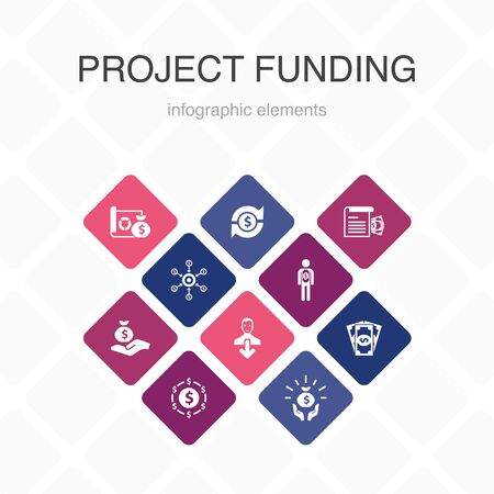 project funding Infographic 10 option color design. crowdfunding, grant, fundraising, contribution simple icons