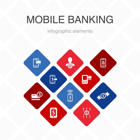 Mobile banking Infographic 10 option color design.account, banking app, money transfer, Mobile payment simple icons