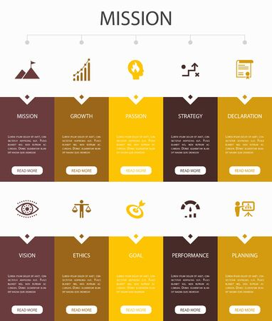 Mission Infographic 10 steps UI design.growth, passion, strategy, performance simple icons