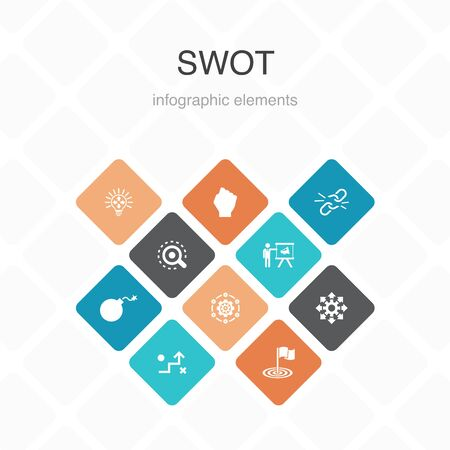 SWOT Infographic 10 option color design. Strength, weakness, opportunity, threat simple icons  イラスト・ベクター素材