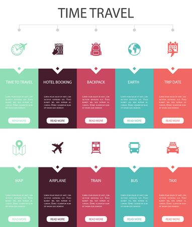 time to travel Infographic 10 steps UI design.hotel booking, map, airplane, train simple icons
