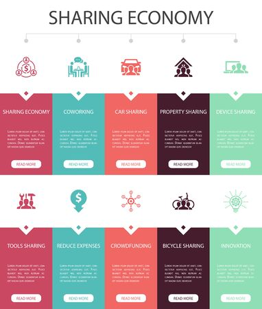 Sharing economy Infographic 10 steps UI design.coworking, car sharing, Crowdfunding, innovation simple icons