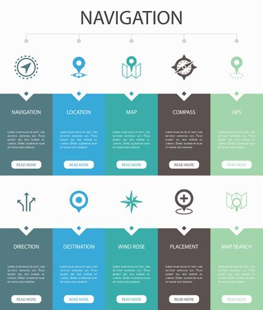 Navigation Infographic 10 steps UI design.location, map, gps, direction simple icons