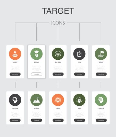 target Infographic 10 steps UI design.big idea, task, goal, patience simple icons  イラスト・ベクター素材
