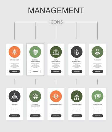 Management Infographic 10 steps UI design.manager, control, organization, presentation simple icons