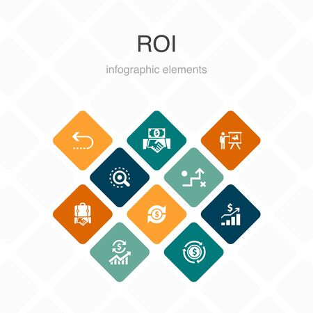 ROI Infographic 10 option color design. investment, return, marketing, analysis simple icons