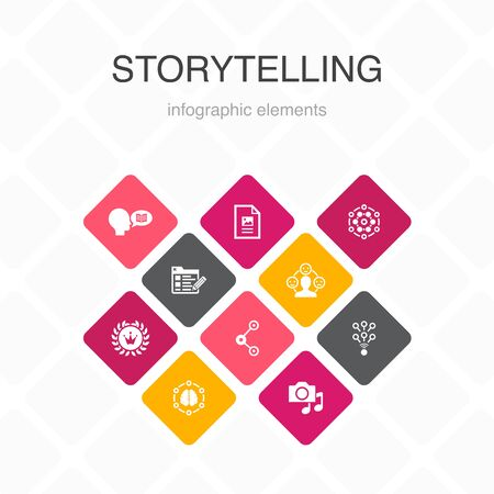 storytelling Infographic 10 option color design. content, viral, blog, emotion simple icons 向量圖像