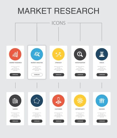 Market research Infographic 10 steps UI design.strategy, investigation, survey, customer simple icons 向量圖像